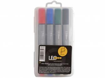 Набор маркеров для досок Leo, 4,0мм, 4 шт