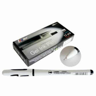 Ручка гелева 0,5мм Leader LR-801, чорна