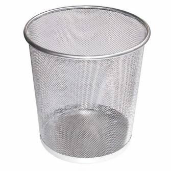 Корзина для сміття, металева, срібна, середня