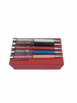 Ручка кулькова металева, зі стразами