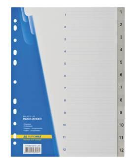 Цифровий індекс-розділювач А4, 12 позицій, Buromax