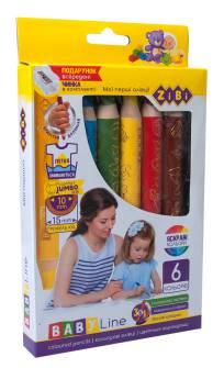 Олівці кольорові Zibi ZB.2453, 6 шт