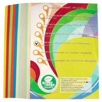 Папір кольоровий Green range А4, 80 г/м2, super mix, 250 арк.