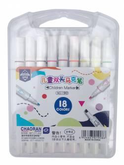 Фломастери двосторонні Chaoran 18 кольорів