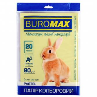 Папір кольоровий Buromax А4, 80 г/м , 20 арк.