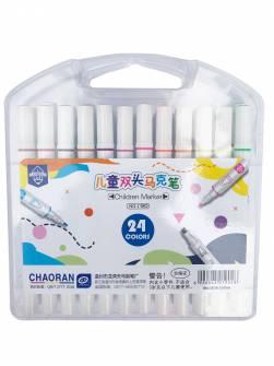 Фломастери двосторонні Chaoran 24 кольорів