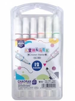 Фломастери двосторонні Chaoran 12 кольорів