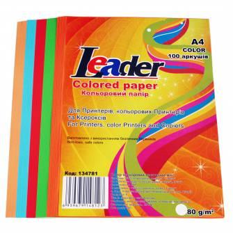 Папір кольоровий LEADER 80 г/м2 А4, 100 арк., мікс