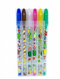 Набір гелевих ручок з блискітками 6 кол.